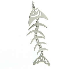Sterling Fishbones Pendant