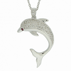 Simulated Diamond Dolphin Necklace
