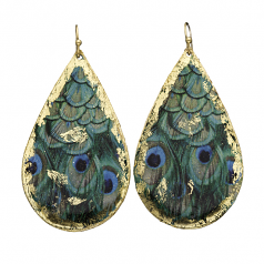 """""""Feathered Peacock"""" Earrings by Evocateur"""