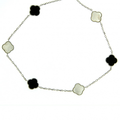 Sterling, Onyx & Mother-of-Pearl Necklace