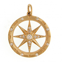 Diamond Compass Rose Pendant