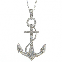 Simulated Diamond Anchor Necklace