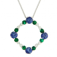 Sapphire, Emerald and Diamond Necklace