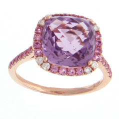 Amethyst and Pink Sapphire Ring