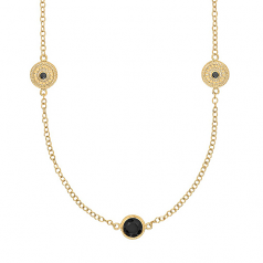 Sterling and Vermeil Black Onyx Long Necklace
