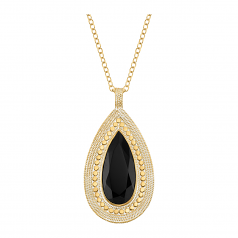 Sterling and Vermeil Teardrop Black Onyx Necklace