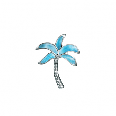 Sterling and Larimar Palm Tree Pendant