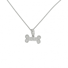 Diamond Dog Bone Necklace