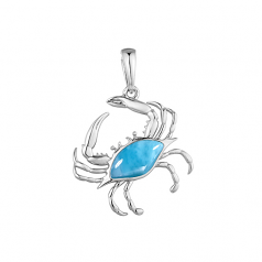 Sterling and Larimar Crab Pendant