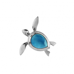 Sterling and Larimar Turtle Pendant