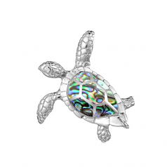 Sterling and Abalone Turtle Pendant