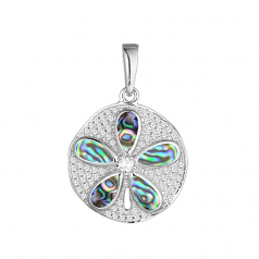 Sterling and Abalone Sanddollar Pendant