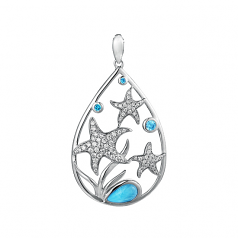 Sterling and Larimar Starfish Pendant