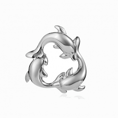 Sterling Three Dolphin Pendant