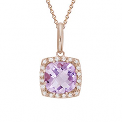 Pink Amethyst and Diamond Necklace