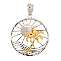 Sun and Palm Tree Pendant