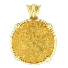 Spanish Gold Cob Coin Pendant - Two Excelentes