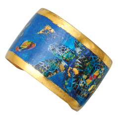 """Blue Mosaic Sea Turtle"" Cuff by Evocateur"