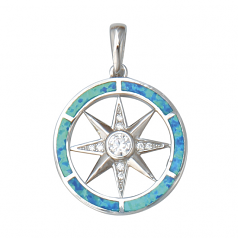Compass Rose Pendant with Opal