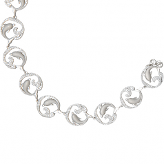 Sterling Dolphin and Wave Bracelet