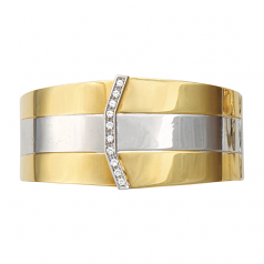 **SOLD** 18Kt Two-Tone Estate Cuff with Diamonds
