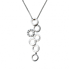 White Gold and Diamond Circles Necklace
