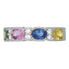Fancy Color Sapphires and Diamond Ring