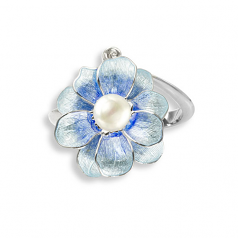 Sterling Blue Camelia Ring