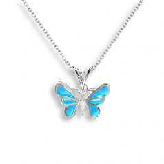 Sterling Blue Butterfly Necklace