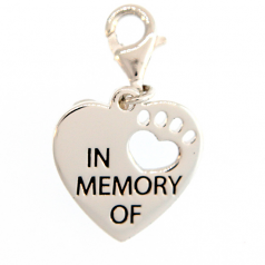 "Sterling ""In Memory of"" Dog Charm"