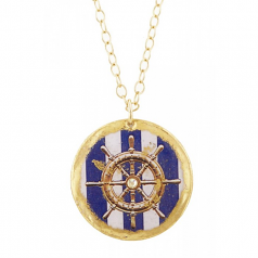 """Ship's Wheel Blue Stripe"" Necklace by Evocateur"