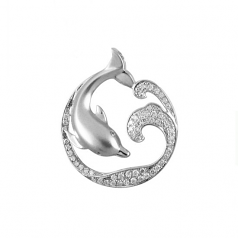 Sterling Dolphin and Wave Pendant