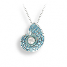 Sterling Blue Nautilus Necklace