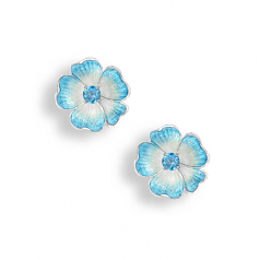 Sterling Blue Rose Earrings