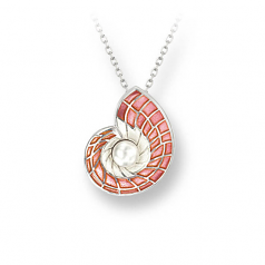 Sterling Pink Nautilus Necklace