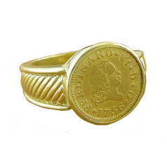 Spanish Gold Bust Half Escudo Ring