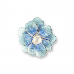 Sterling Blue Camelia Pin/Pendat