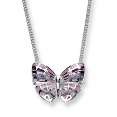 Sterling Lavender Butterfly Necklace