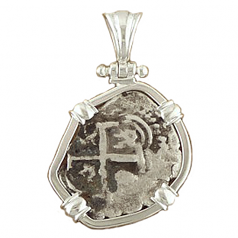***SOLD***  Spanish Silver Cob Coin Pendant - 1 Reale