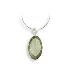 Sterling Green Oval Necklace