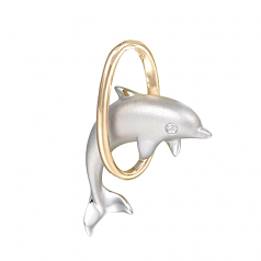 Sterling Dolphin Hoop Pendant