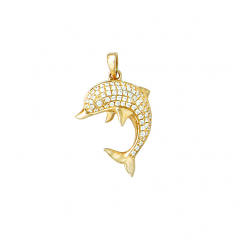 Dolphin Pendant with Diamonds