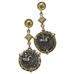 Indo-Scythian Drachm - Azes II Coin Earrings