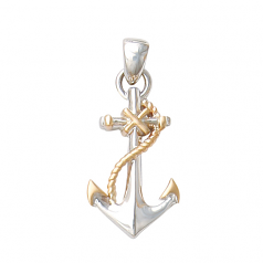 Sterling and 14Kt Gold Fouled Anchor
