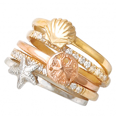 Shell and Diamond Stack Rings