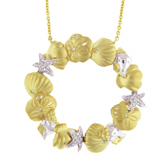 Diamond Seashell Circle Necklace