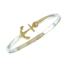 Sterling and Gold Anchor Bracelet