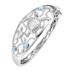 Sterling and Larimar Turtle Bracelet