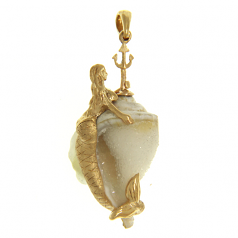Drusy Shell Mermaid Pendant