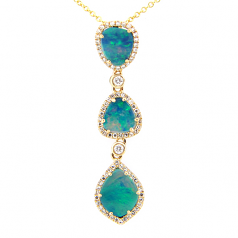 Diamond and Opal Drop Necklace